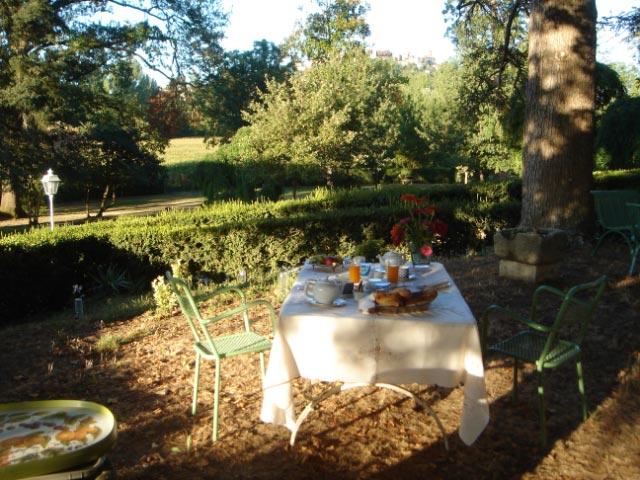 Petit déjeuner dans le parc du Château